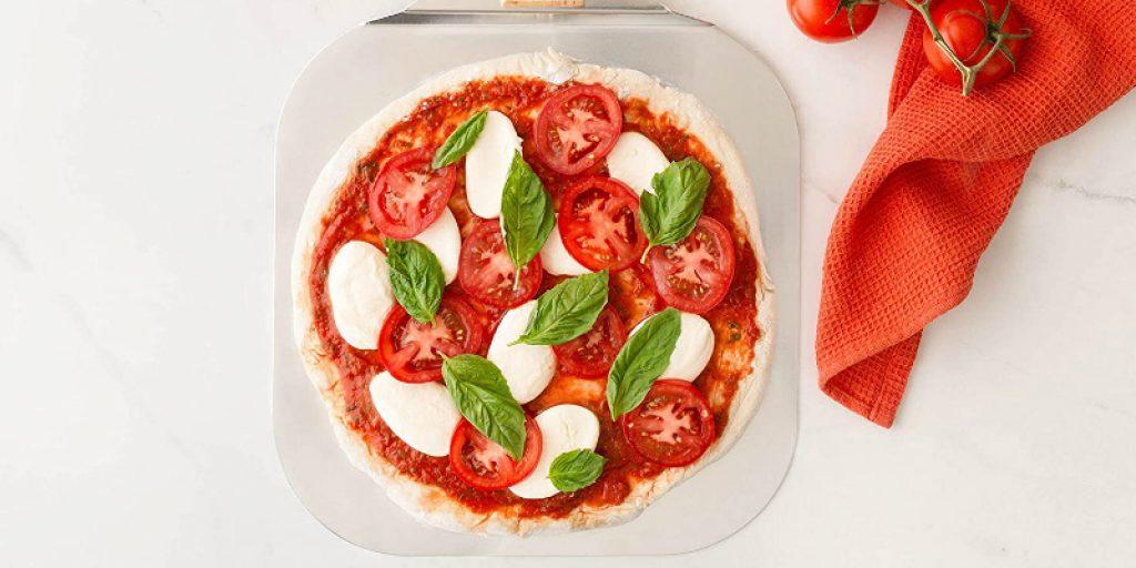 pizza on the pizza peel