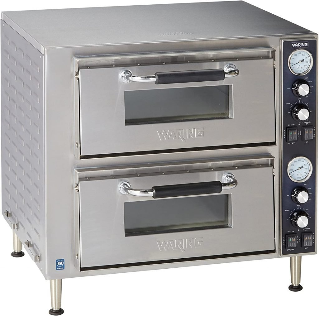 Waring-Commercial-WPO750-Double-Deck-Pizza-Oven-with-Dual-Door-Silver
