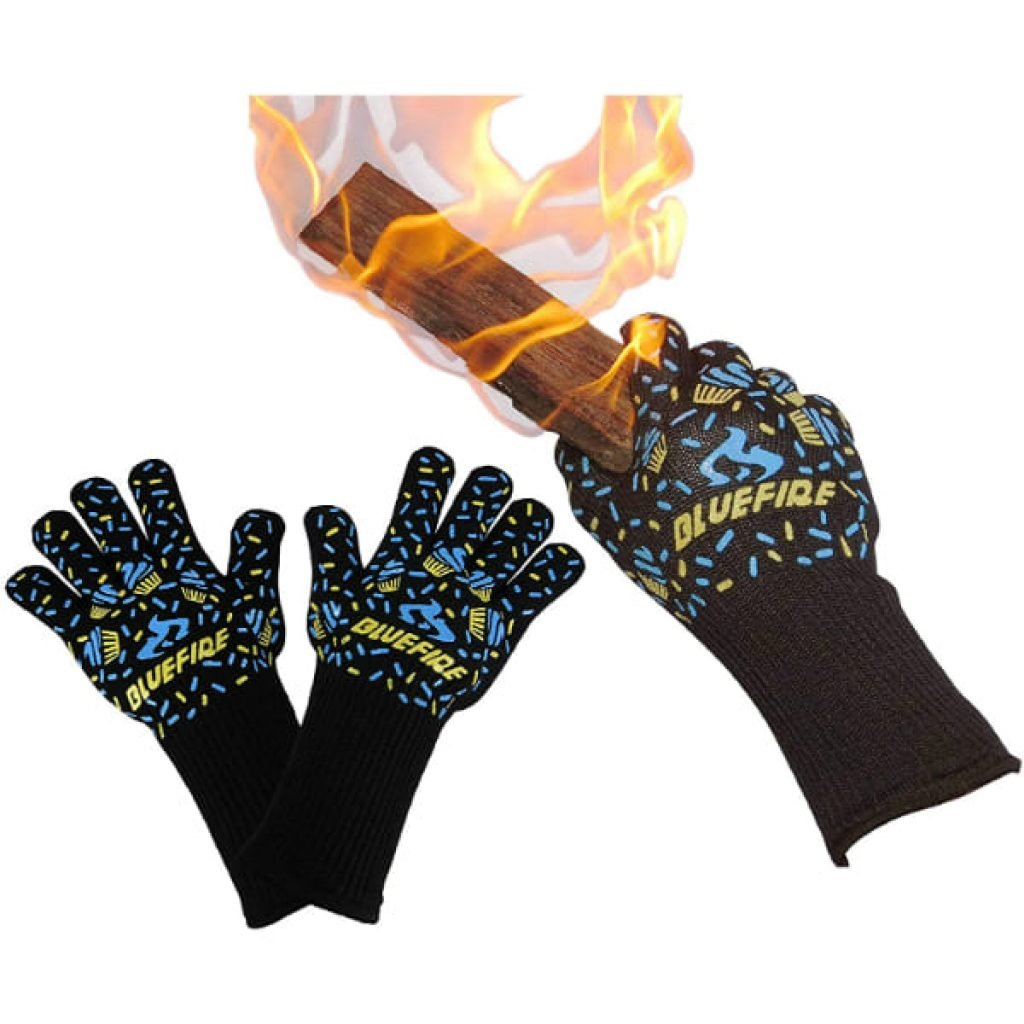 BlueFire Gloves BBQ Grill Firepit Oven Mitts Heat Resistant 932 Degrees F Lab Certified Professional Grade Kevlar