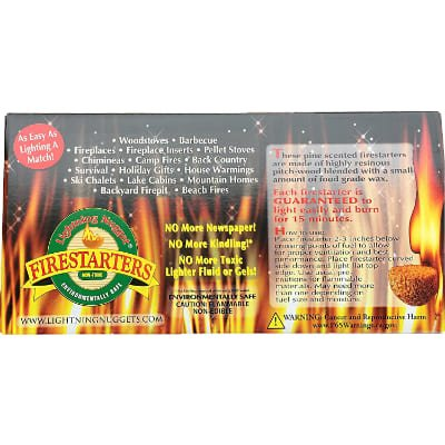 Lightning Nuggets Box Fire Starter 100, Count, Tan