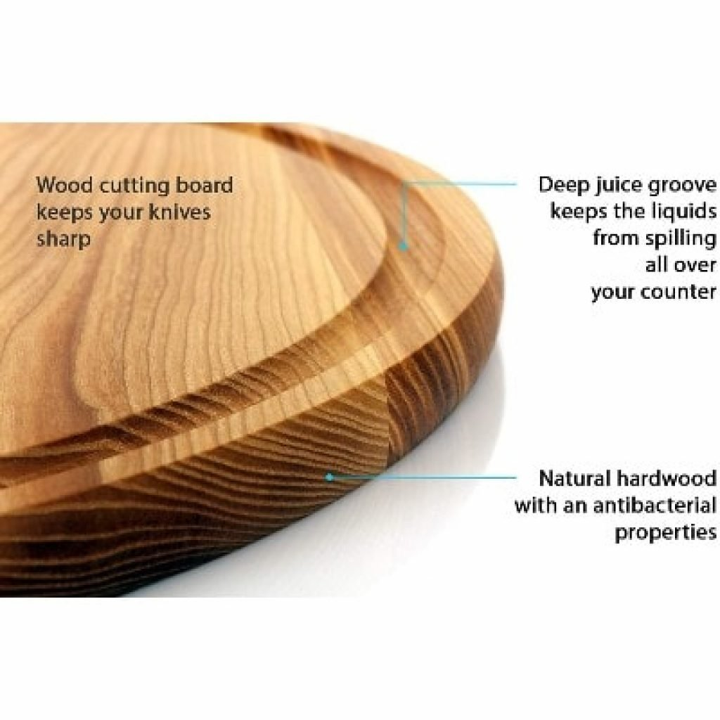B.Brown Large Round Wood Cutting Board features