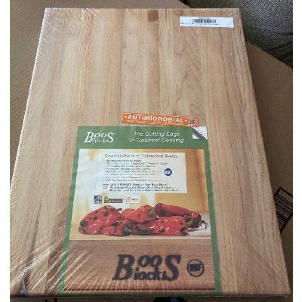 newly bought John Boos CHY-R01 Cherry Wood Edge Grain Reversible Cutting Board
