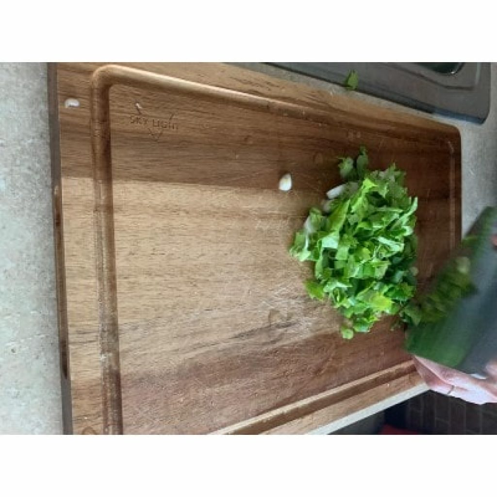SKY LIGHT Cutting Board in use