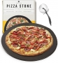 Heritage Black Ceramic Pizza Stone and Pizza Cutter Wheel